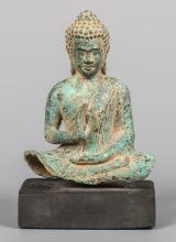 Seated Khmer Bronze Buddha in Teaching Position or Vitarka Mudra