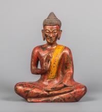 Seated Khmer Teak Wood Buddha in Teaching Mudra