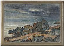 August Törsleff (1884-1968) Bord de mer huile sur