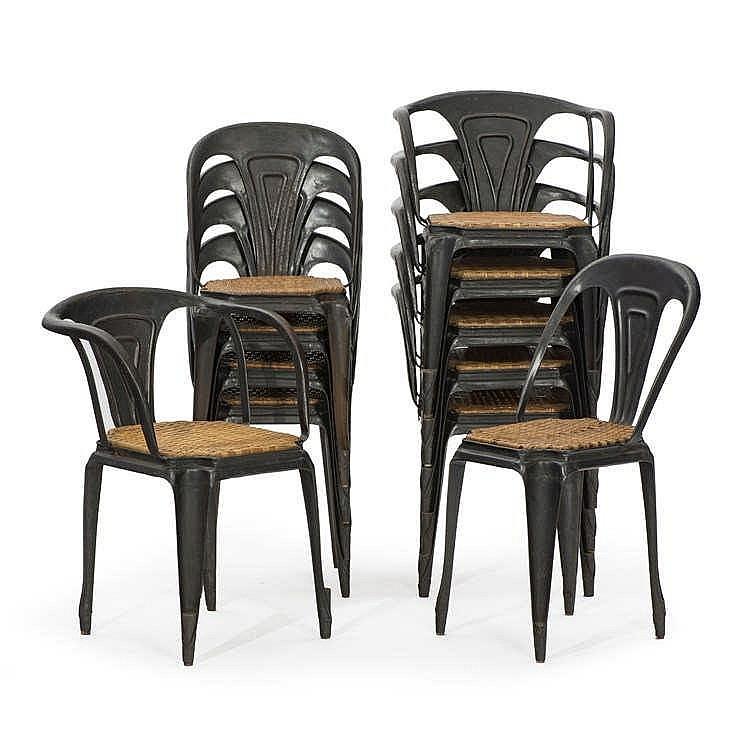 Suite de 6 fauteuils et 5 chaises dans le go t de de pauchar - Chaises stratus noir ...