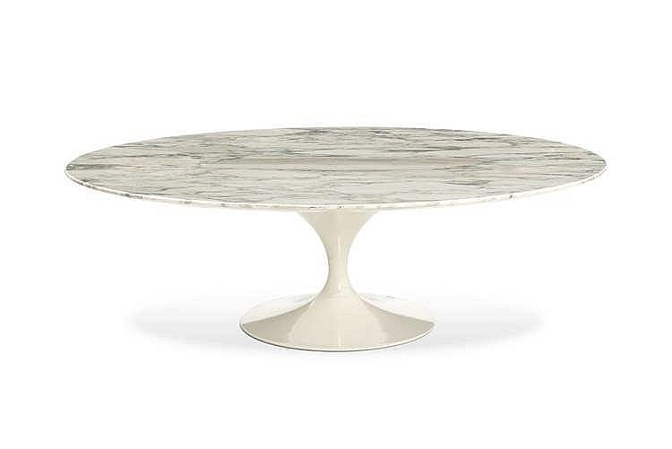 Coffee table mod le tulipe par eero saarinen ed knoll inter for Table knoll ovale marbre blanc