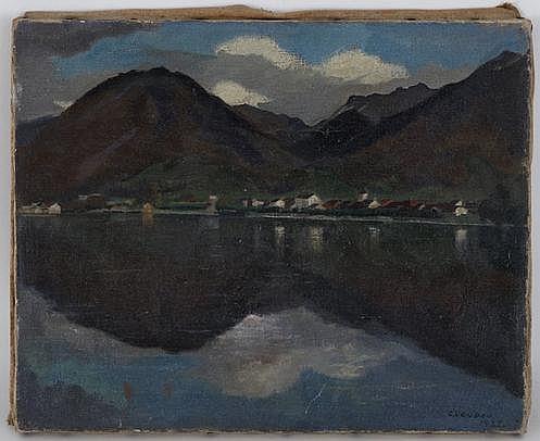 Gaston Vaudou (1891-1957), Vue du Lac, Villeneuve,
