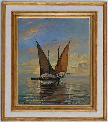 Louis Amédée Baudit (1870-1960), Barque en plein