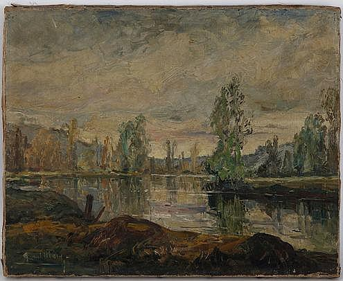 Paul Mery (1850-?), Paysage da campagne, étang,
