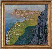 Cesare Esposito (1886-1943), Les falaises d'Etretat, huile sur toile, signée, 69x72 cm