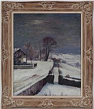 Emile Bressler (1886-1966), La neige à Vernaz , huile sur toile, signée et datée (19)41, titrée au verso, 61x50 cm