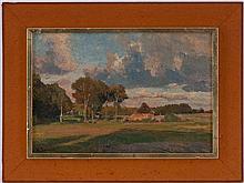 Hugo DARNAUT (1851-1937), Clairière, huile sur toile marouflée sur carton, signée, 26,5x39,5 cm (à vue)