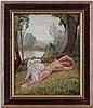 Gustave François Barraud (1883-1964),  Léda , huile sur toile, signée, cachet d'atelier et titrée au verso, 65,5x53,5 cm, Gustave-François-Jules Barraud, CHF500