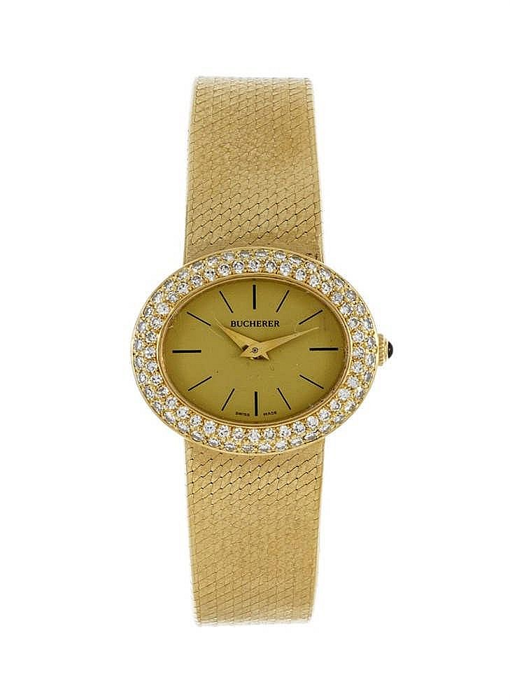 bucherer montre bracelet en or 750 sertie de diamants. Black Bedroom Furniture Sets. Home Design Ideas
