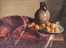Pierre Jouffroy@ (1912-2000), Nature morte au tapis, huile sur toile, signée et datée (19)55, 73,5x100 cm