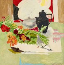 """Jules Cavaillès (1901-1977), """"Le pigeon"""", huile sur toile, signée, contresignée et titrée au verso, 78,5x78 cm"""