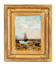 Marius Roy (1833-1921), Voilier près d'un pont, huile sur toile, signée et datée [19]88, 32,5x24,5 cm