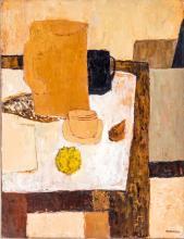 Charles Monnier (1925-1993), Déjeûner , huile sur toile sur papier marouflé sur toile, signée, contresignée, titrée et datée au verso, 35x33 cm