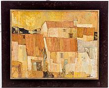 Charles Monnier (1925-1993), Mas aux Fléchons, huile sur toile, signée, contresigné, datée 1968 et titrée au verso, 48,5x63 cm