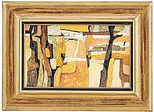 Charles Monnier (1925-1993), Campagne aride, huile sur toile, signée, contresignée, datée 1971 et titrée au verso, 33x55 cm