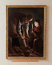 """Georges de La Tour (1593-1652), copie d'après, """"Saint Joseph charpentier"""", huile sur toile, exécutée par Amal Dagher, signée, 99x71,5 c"""