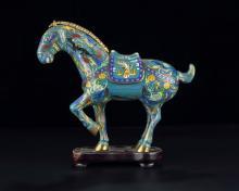 Brûle-parfum en forme de cheval en émaux cloisonnés, Chine, XXe s., h.26 cm