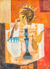 Charles Monnier (1925-1993), Nature morte rouge , huile sur toile, signée, contresignée, titrée et datée 1968 au verso, 41x30 cm