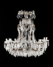 Ensemble de 2 lustres, style Louis XV, XXe s., fer forgé et pampilles en cristal taillé, 15 feux,  h. 94 cm, diam. 70 cm , et h. 82 cm, diam. 80 cm