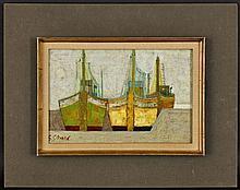 Georges Girard (1917-2003), Bateaux à St Louis,