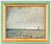 Emile BRESSLER@ (1886-1966), Marine, huile sur toile, signée et datée 37, 50x61 cm