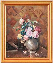 Emile Bressler@ (1886-1966), Bouquet de roses, huile sur toile, signée, 40x32 cm