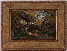 François-Adolphe Grison (1845-1914),  Les derniers rayons aux Bordes, Haute Savoie , huile sur toile, signée, 22x32,5 cm