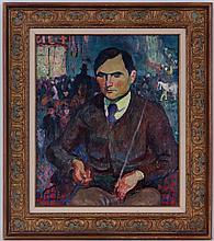 Emile Bressler (1886-1966), Portrait présumé d'Albert Sautter, ami du peintre, huile sur toile, signée, 55x45 cm