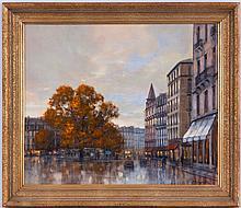 Roger Delapierre (1935),  Place des Eaux-Vives, Genève , huile sur toile, signée, située au verso, 46x55 cm