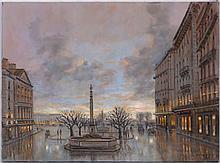 Roger Delapierre (1935), Genève,  Place de Longemalle , huile sur toile, signée, située au verso, 54x73 cm
