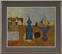 Georges Girard (1917-2003), La nappe jaune , huile sur toile, signée, contresignée, titrée et datée 1959 au verso, 54x65 cm