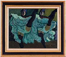 Henry MEYLAN (1895-1980),  French-cancan , huile sur pavatex, signée, 46x55 cm