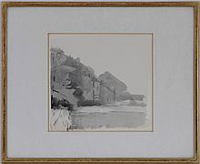 Gérard DE PALEZIEUX (1919-2012), Etang à Finges, lavis sur papier, monogrammé, 22x23,5 cm (à vue)
