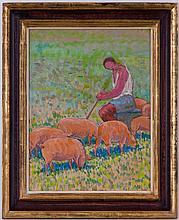 Albert Schmidt (1883-1970), Le gardien de cochons, huile sur papier marouflé sur toile, 58x44 cm
