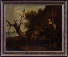 Anonyme (XVIIIe-XIXe s.), Scène de taverne, huile sur toile, 45,5x56 cm