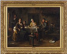 Bernard Johann de Hoog (1866-1943), Le souper, huile sur toile, signée, 95x125,5 cm