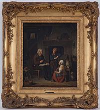 Herman Frederick Carel Ten Kate (1822-1891), Scène d'intérieur, huile sur toile, signée et datée 1859, 52,5x44 cm environ