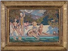Henri Baptiste LEBASQUE (1865-1937), attr. à, Enfants se baignant, huile sur papier marouflé sur toile, 22,5x33,5 cm