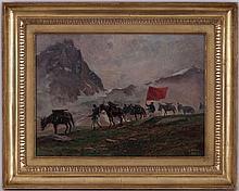 Leonardo Roda (1868-1933), Troupe d'artillerie dans les Alpes, huile sur toile, signée et datée 1910, 44x35 cm
