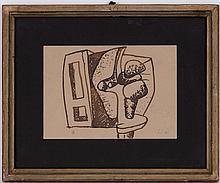 Le Corbusier (1887-1965), Composition, projet pour une sculpture, encre sur papier, monogrammée, 20x29 cm (à vue)