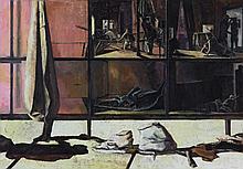 Marc-Antoine Fehr (1953), Le moulin, huile sur toile, signée et datée 1991, contresignée et datée au verso, 140x200 cm