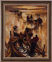 Claude QUIESSE (1938),  Pêcheurs portugais , huile sur toile, signée, contresignée et titrée au verso, 100x81 cm
