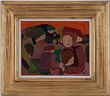 André Téléki (1928-1999),  Les visages tristes , huile sur panneau, signée, contresignée, titrée, et datée 1972 au verso, 41x33 cm