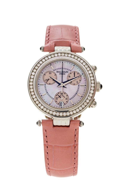 balmain montre chronographe en acier serti de diamants bo t. Black Bedroom Furniture Sets. Home Design Ideas