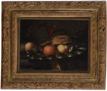 Juriaen Van Streeck (1632-1687), attr. à Nature morte aux fruits et à la corbeille, huile sur toile, 30x39 cm