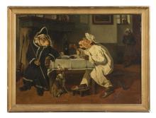 """Joseph Edouard Stevens (1819-1892), """"Le repas des singes"""", huile sur toile, signée, 57x77,5 cm"""