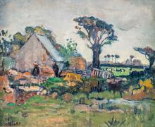 Emile Bressler (1886-1966), Paysage de campagne, huile sur toile, signée, 49x61 cm