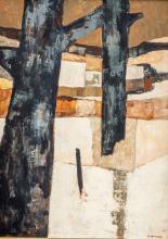 Charles Monnier (1925-1993), Les deux poiriers (Haute Savoie) 1978, huile sur toile, signée, titrée, contresignée et datée au dos, 41x30 cm