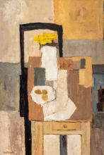 Charles Monnier (1925-1993), Nature morte grise 1977, huile sur toile, signée, titrée, contresignée et datée au dos, 35x24 cm