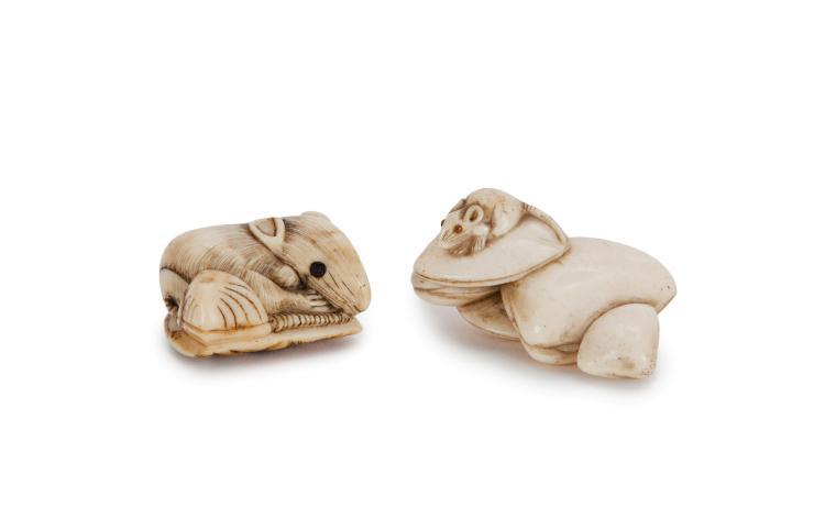 2 netsuke en os représentant des rats et des coquillages, Japon, XIXe s., tailles diverses